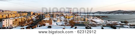 Panoramic View Of Petropavlovsk-kamchatsky City, Seaport And Power Plant. Far East, Russia