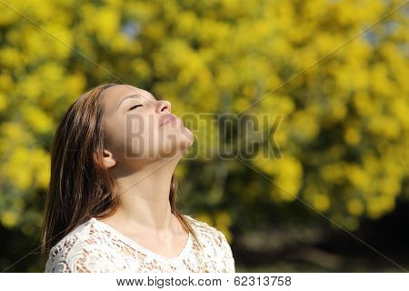 Woman Breathing Deep In Spring Or Summer