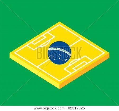 Flat green soccer field, brazil flag