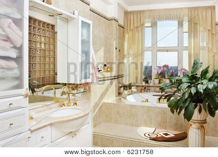 Golden bathroom interior in romantic style