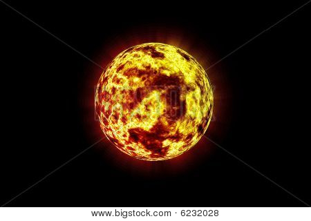 Fiery Flames On Red And Yellow Planet
