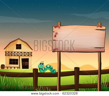 Illustration of an empty wooden board across the barnhouse at the hilltop