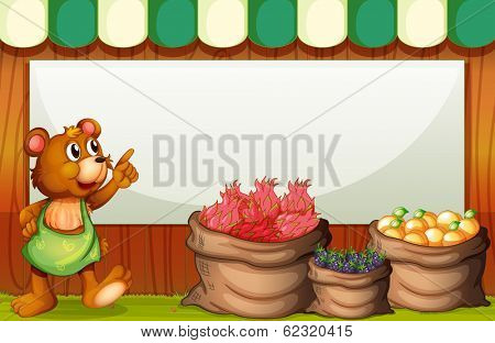 Illustration of a bear at the market with an empty template at the back