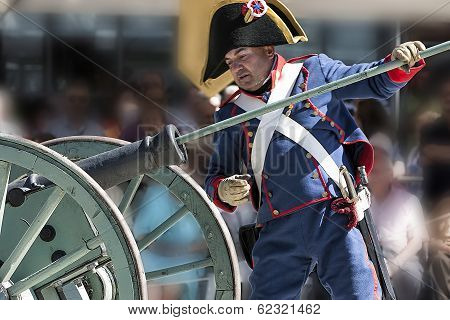 French Soldier charging a fee during the Representation of the Battle of Bailen