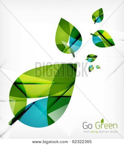 Green leaves spring nature design concept