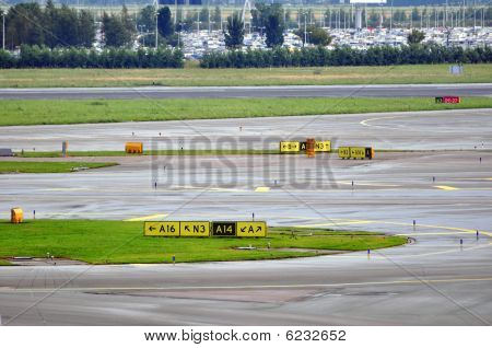 Airport runway and taxiways