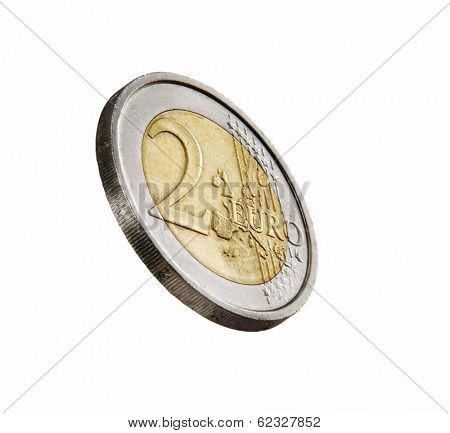 Two euros coin on white background.Euro coin.