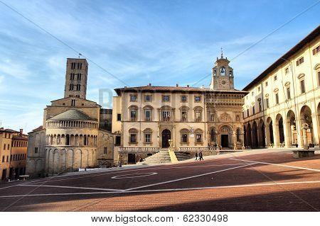 Piazza Grande In Arezzo, Tuscany, Italy