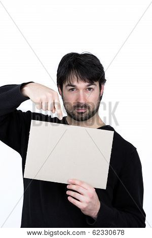 man showing message