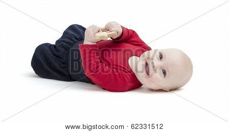 Smiling Toddler Isolated In White Background
