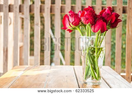 Morning Sun Shining On Red Roses Vase