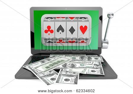 Slot Machine Inside Laptop With Dollars