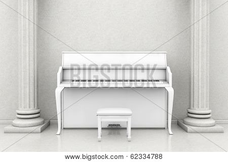 Classic Music Room With White Piano