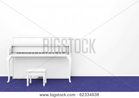 White Piano With Chair