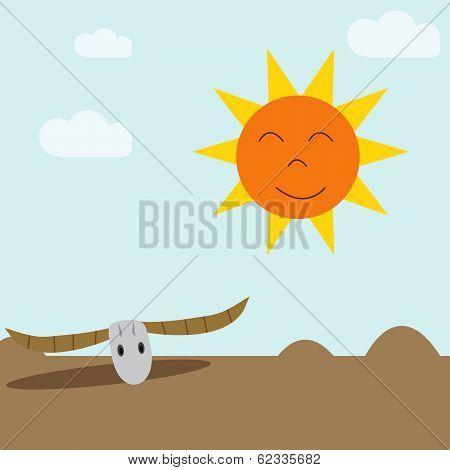 Skull In Desert In Sunny Day,eco Concept.