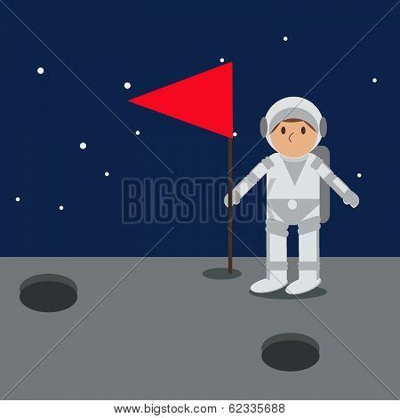 Astronaut On Mars With Flag.