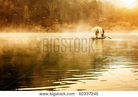 Lake And Fishing People