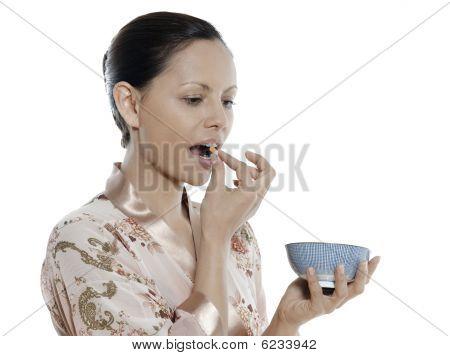 Woman Asian Taking Pill
