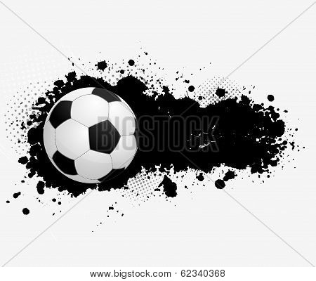Grunge banner with soccer ball