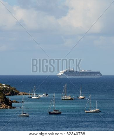 Passenger Ocean Liner Approaching Island