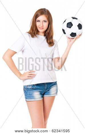 Girl with a soccer ball, isolated on white background