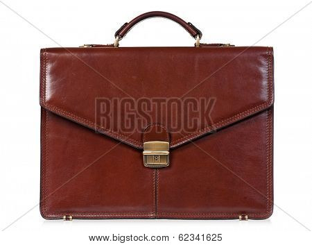 Brown leather briefcase with brass buckle, isolated on white background