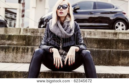 Fashionable Blonde Girl Posing