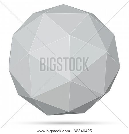 Polygonal grey 3D sphere isolated on white background vector illustration.