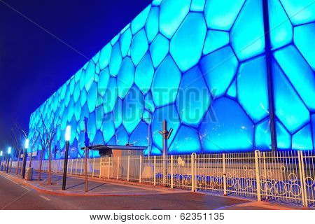 BEIJING, CHINA - APR 7: Beijing National Aquatics Center at night on April 7, 2013 in Beijing, China. The center was established for the 2008 Summer Olympics and Paralympics.