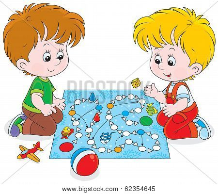 Boys playing with a boardgame