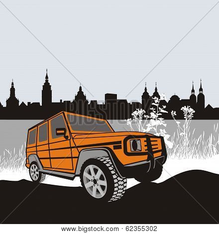 Off-road Car In Natur.eps