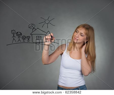 Woman drawing happy family and small house with pen on screen