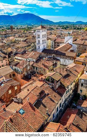 Scenic Vertical View Of Lucca Village In Italy