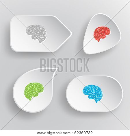 Brain. White flat vector buttons on gray background.