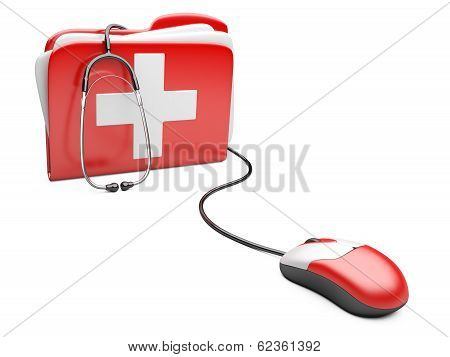 Pc Mouse With Red Folder And White Cross