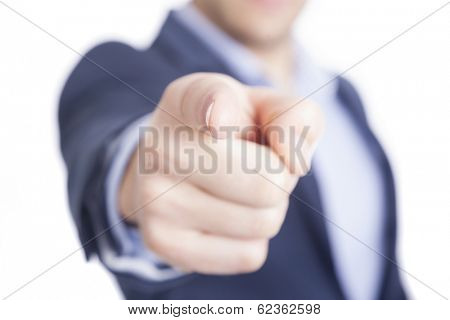 Business man pointing finger at you, isolated on white
