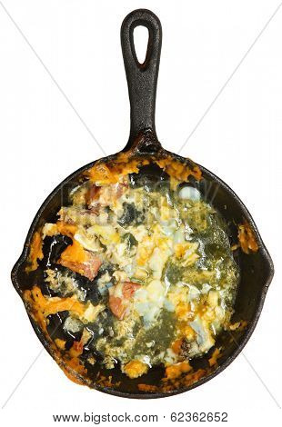Left Over Mess Low Carb Omelet with Sausage and Cheese isolated over white.