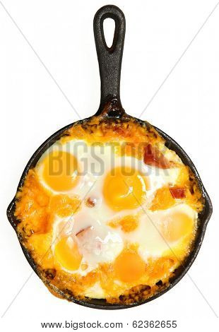 Fresh Oven Baked Eggs with Sausage and Cheddar Cheese over White