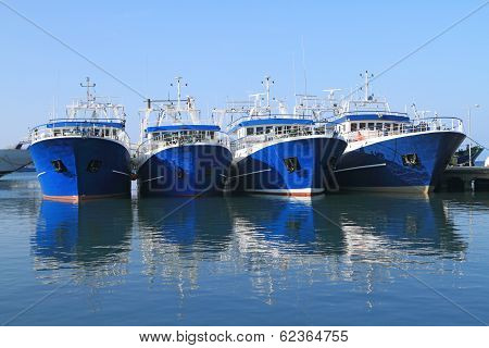 Fishing Ships Docked In Port