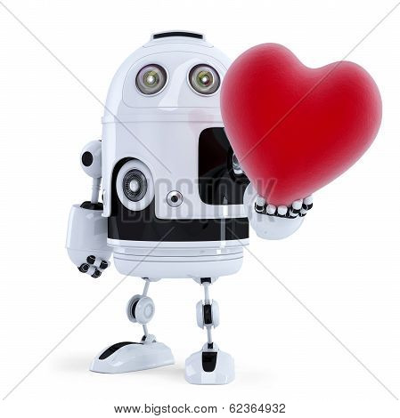 Cute Robot Holding A Big Red Heart. Isolated