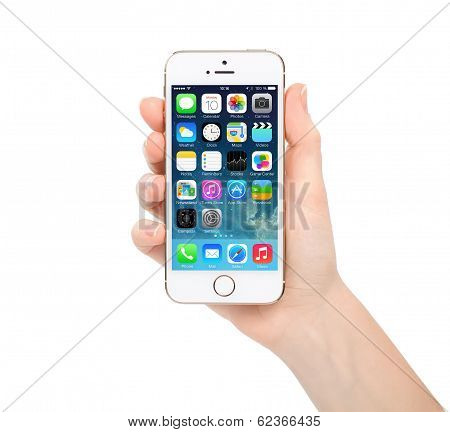 New Update Operating System Ios 7.1 Screen On Iphone 5S Gold Apple