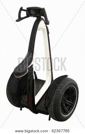 self-balancing electric scooter with two wheels  isolated under the white background