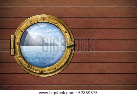 ship window with sea or ocean with tropical island. Travel and adventure concept.