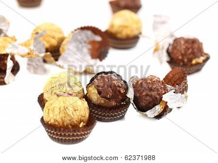 Bunch of round chocolate bonbons.