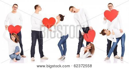 Compilation of a four couples holding hearts