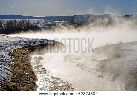 Natural Hot Springs in the Rocky Mountain Landscape
