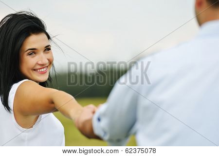 Couple in love having happy time outside
