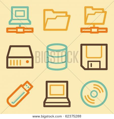 Drive storage web icons set in retro style