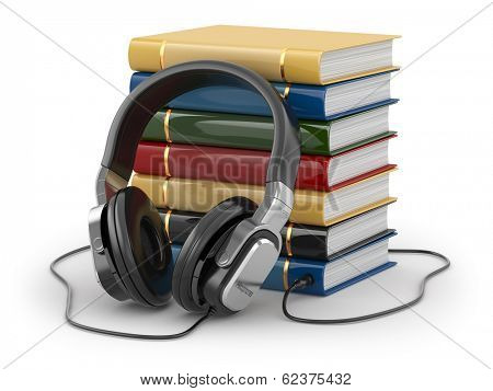 Audiobook concept. Headphones and books on white isolated background.