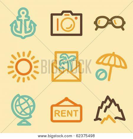 Travel web icons set in retro style
